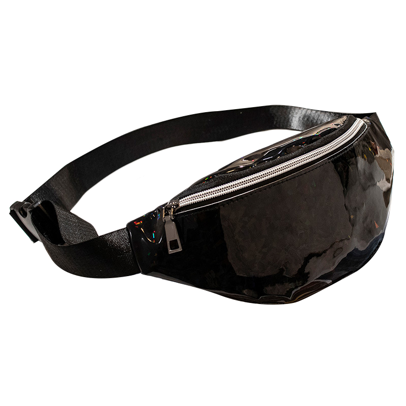 Sequins Holographic Fanny Pack Waist Pack Women'S Chest Waist Bag Women Belt Bag Bum Bag(Black)