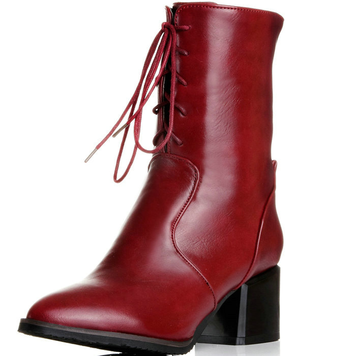 Big size 34-43 Women Half Knee High Boots Vintage Thick High Heels Lace Up Warm Winter Fur Shoes Pointed Toe Platform Snow Boots big size 34 43 vintage thick high heels platform ankle boots female fashion shoes woman buckle charm lace up fall winter boots