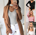 2017 New Design Women's halter Spring Ribbed full sleeve Bodysuits Playsuits Jumpsuits Cotton Knitted Bodycon Bandage romper