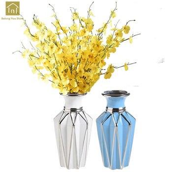 European Ceramic Vase Decoration Geometric Vases For Weddings Vase En Verre Floral Decorative Vase For Home Art QAB128
