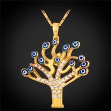 U7 New Evil Eyes Necklace Tree Pendants Gold Plated Rhinestone Crystal Necklace Turkish Evil Eye Necklace Women Wholesale P422