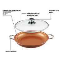 Grand Innovation 14 Inch Copper Cookware Non Stick Frying Pan Ceramic Coating With Glass Lid KGI