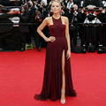 Gossip Girl Blake Lively Cannes Burgundy Chiffon Celebrity Dress Formal Prom Dress Sleeveless High Slit Evening Dress Burgundy