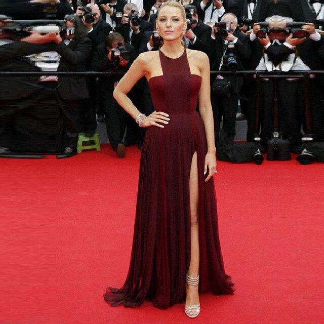 Gossip Girl Blake Lively Cannes Burgundy Chiffon Celebrity Dress Formal Prom Dress Sleeveless High Slit Evening Dress Burgundy