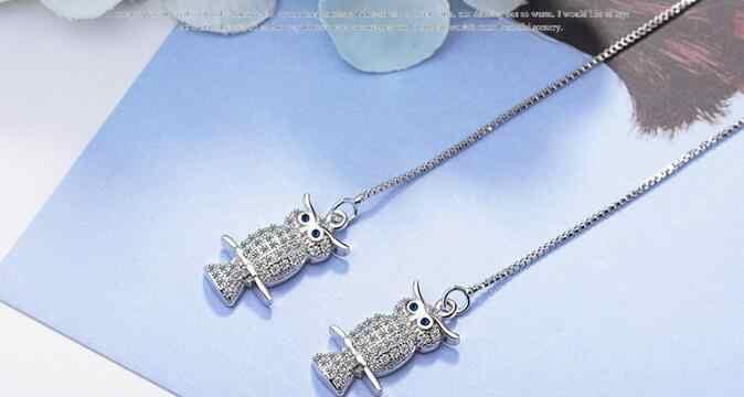 925 Sterling Silver Zirconia Vite Prigioniera Del Gufo Orecchini Per Le Donne Imitazione Perla Orecchini Regali Del Partito Sterling-silver-gioielli EH610