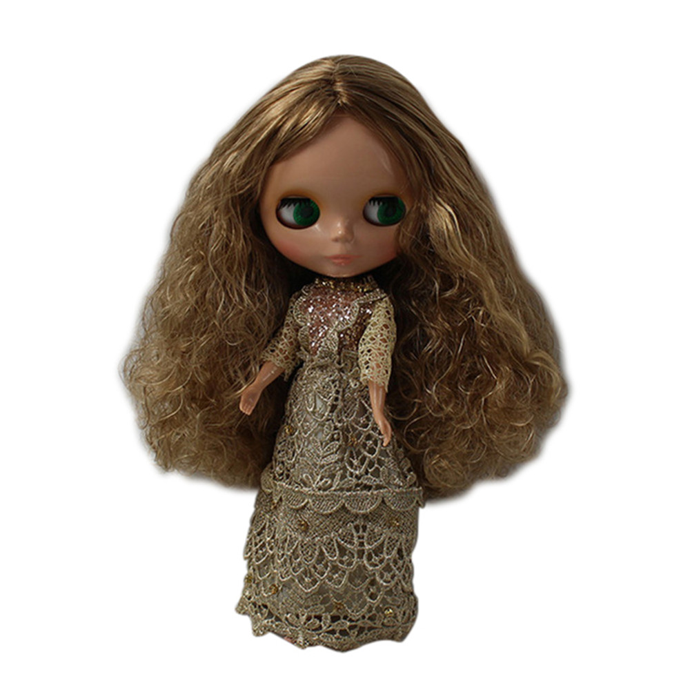 Golden Long Curly Hair Without Bangs bl06230538 Factory Blyth Girl Doll Child Gift Black Skin Cheap Sale Blyth Doll Normal Body