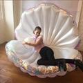 170 cm gigante inflable de piscina flotador nuevo diseño de verano 2019 de agua de poner la cama de aire, cubierta con perla de concha de vieira junta