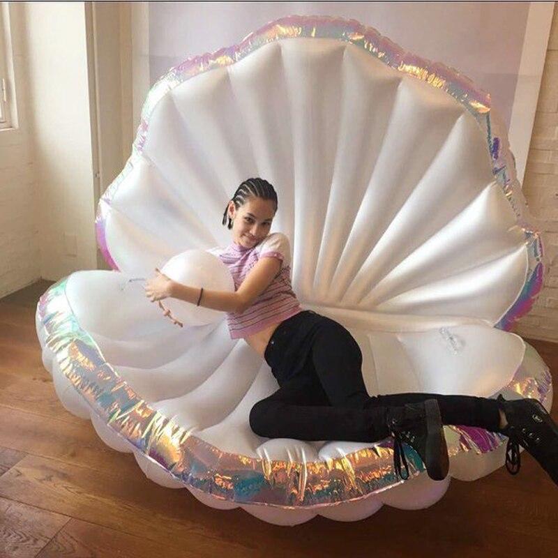 170cm Géant Coquille Gonflable Piscine Flotteur Nouveau Design 2019 D'été L'eau Lit D'air Transat À Clapet Avec Perle Coquillage Pétoncle Conseil