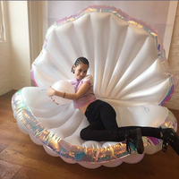 170cm Giant Inflatable Shell Pool Float New Design 2018 Summer Water Air Bed Lounger Clamshell With Pearl Seashell Scallop Board