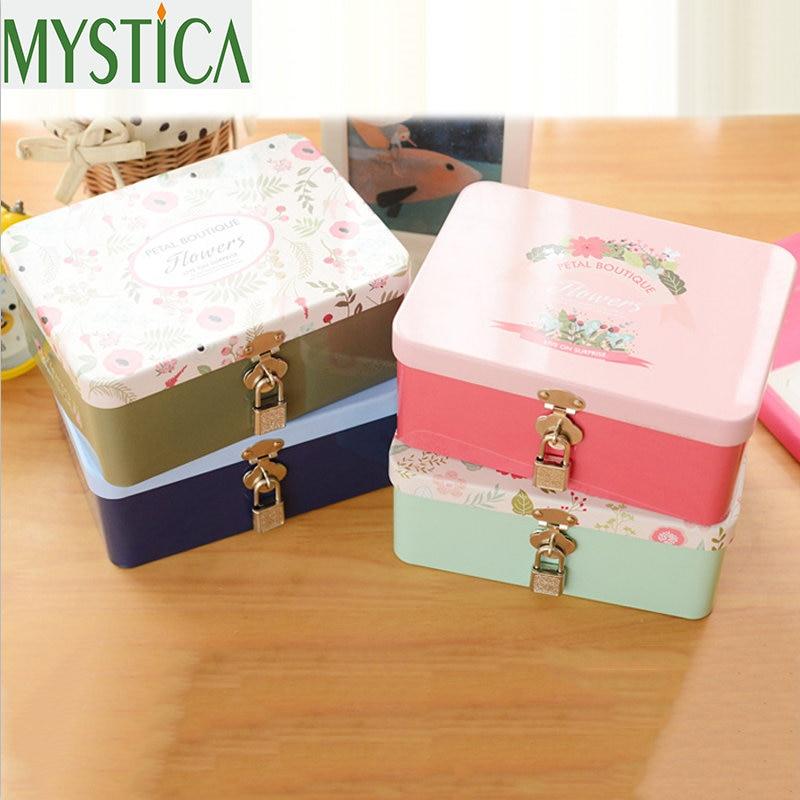 1pcs Cute Kawaii Cartoon Metal Box Jewelry Toy Storage Boxes Home Decoration Supplies Cosmetic