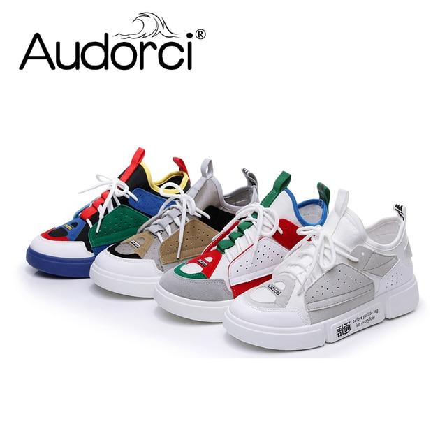 Audorci 2018 модные женские туфли на плоской подошве кроссовки Повседневное босоножки женская обувь женская дышащая Уличная обувь Размер 35–40