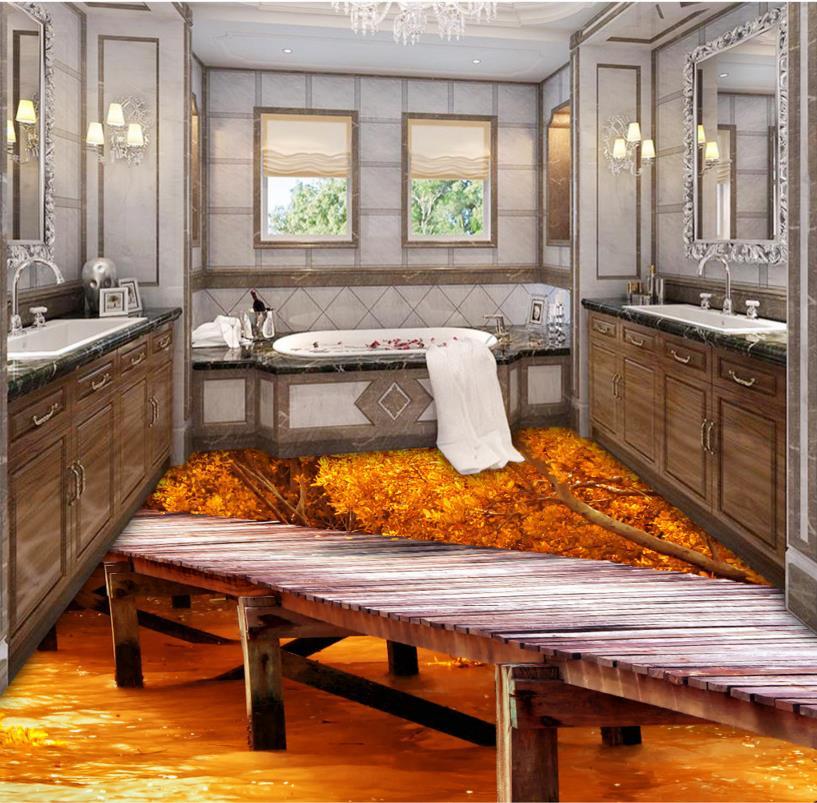 где купить Custom 3d floor wallpaper brige wood waterproof 3d pvc flooring bathroom self-adhesive floor 3d photos floor по лучшей цене