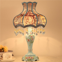 European Resin Carved Table Lamps For Bedroom Bedside Lamp Lace Palace Lampshade Home Decor Living Room Light