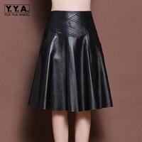 2018 New Fashion Brand Latest Korean Womens Genuine Leather Sheepskin A Line Skirts Female High Waist Indie Folk Knee Length