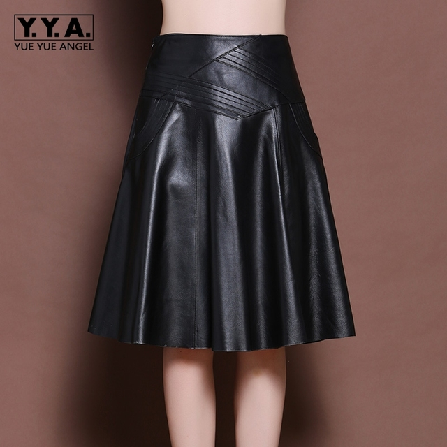 2019 New Fashion Brand Latest Korean Womens Genuine Leather Sheepskin A-Line Skirts Female High Waist Indie Folk Knee Length