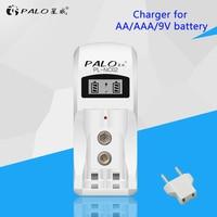 PL-NC02 inteligente lcd rápido carregador de bateria carregador recarregável para aa aaa 9 v nimh bateria 2 lotes carregador inteligente