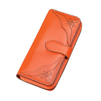 8PCS / LOT Hot Sale Genuine Leather Wallet Women Long Hasp Zipper Vintage Hollow Out Lady Purse Large Wallet Phone Pocket Purse