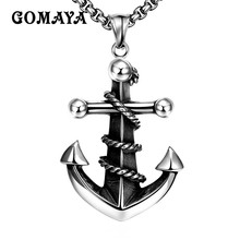 GOMAYA Anchor Retro Vintage Rock Jewelry Silver Color Stainless Steel Punk Cool Necklace for Men Boy Daily Jewelry Chain