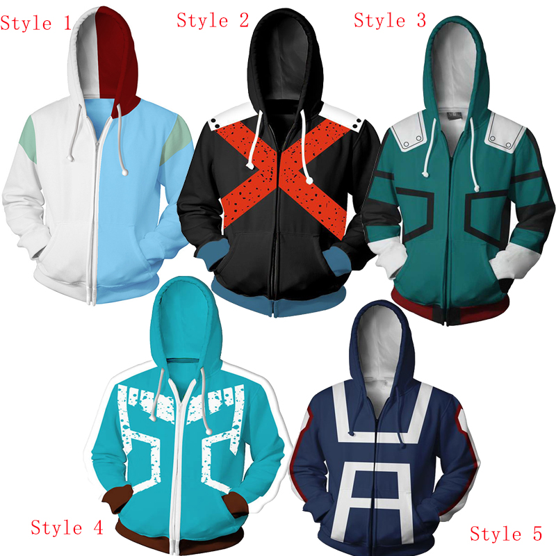 Free shipping woman and man's My hero academia 3D printing clothes cardigan zipper Hooded wear hoodie cosplay wear JQ-2611