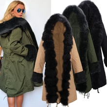 2016 New Winter Womens army green Long Cotton padded Parka Casual Outwear Military Hooded Coat Fur