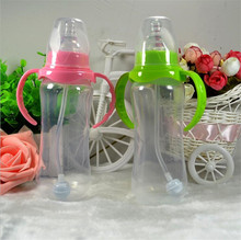 240ml Standard Mouth Baby Infant Kids Automatic Pipette Straw Pacifier Nipple Milk Feeding Bottle / Non slip Handle & Cup Cover