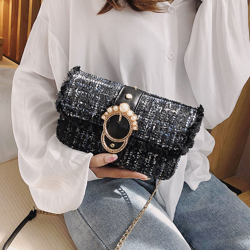 Fashion Women New Knit Flap Shoulder Bag INS Popular Casual Female Tassel Weave Handbag Mini Lady Pearl Chain Crossbody SS3458 (2)