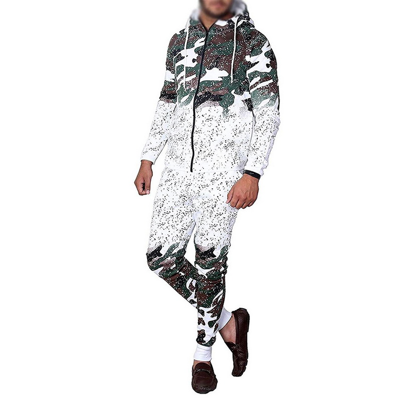 2019 Mens Running Set Casual Sportswear Vest Hooded Sweatshirt Jogger Broek Trainingspak Camouflage Print Mannelijke Hombre Jumpsuit