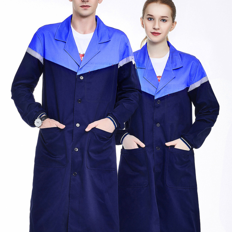 Men's Blue Shop Coat With Reflective tapes Lab Coat Work Clothes Men Workwear Uniform Jacket
