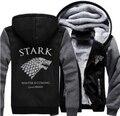 Prático Inverno Engrosse Com Capuz Zipper Casaco Jaqueta Ghost House of Stark Game of Thrones Direwolf Moletons