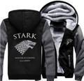 Practical Winter Thicken Hoodie Zipper Coat Game of Thrones Direwolf Ghost House of Stark Jacket Sweatshirts
