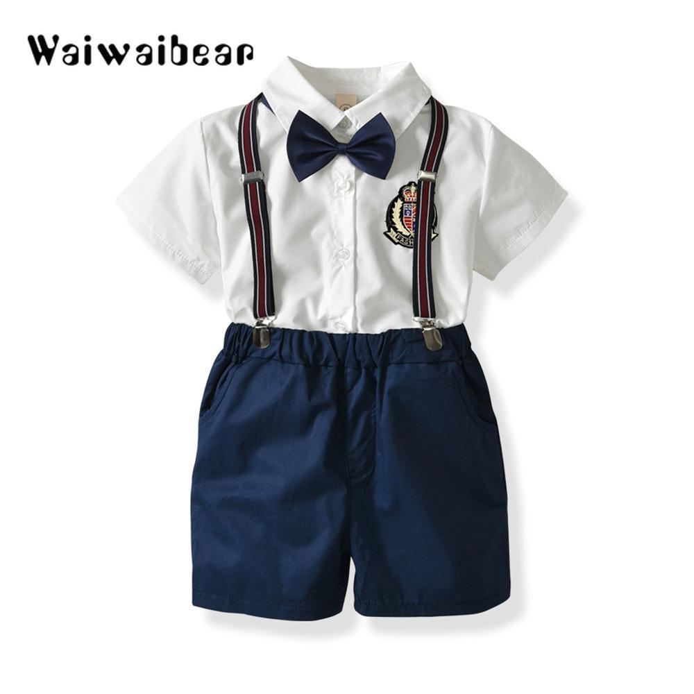 UK Kids Baby Boys Gentlemen Clothes Tops T Shirts Short Pants Outfits Party Set