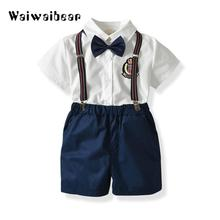 New Summer Kids Baby Boys Clothing Sets Short Sleeve Bow Tie Shirt+Suspenders Shorts Pants Formal Gentleman Suits Cotton недорого