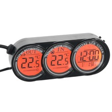 Auto Car Digital Thermometer Car LCD Digital Clock In Outdoor Temperature Thermometer 2 Colors Backlight Clock
