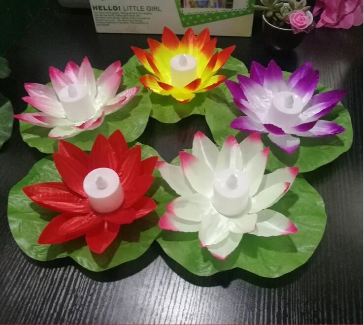 Светодиодный искусственный цветок лотоса Красочные изменилось водный Цветок плавательный ...