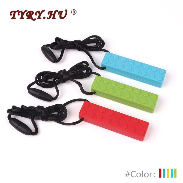 TYRY.HU 1pc Baby Teethers Necklace Food Grade Silicone Teether Baby Teething Toys Building Blocks Pacifier Chain Pendant Bpafree