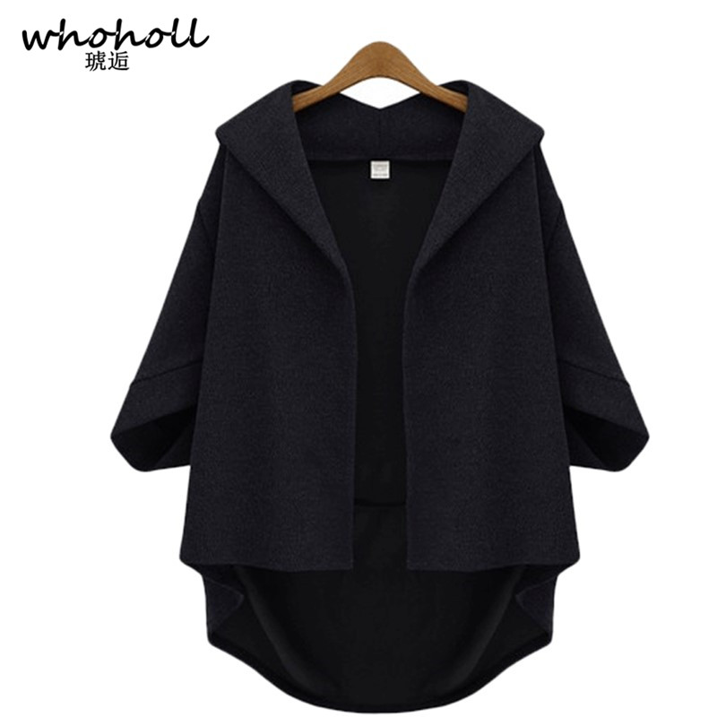 WHOHOLL 2018 Autumn Winter Women Cardigan Shawl Half Sleeve Sweaters Casual Solid Hooded Cardigans femme