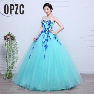Image 1 - 100% Real Photo Fashion Organza Colored Wedding Dresses 2020 Spring Blue princess For Paty Studio Photo Vestido De Noiva Gown