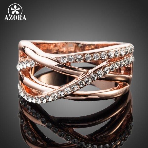 AZORA Classic Rose Gold Color Transparent Stellux Austrian Crystal Ring  TR0088 - Coginte.ga 780d3a86bf93