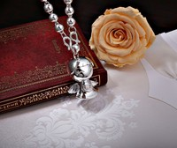 S990 Sterling Silver Pendant silversmith old Handmade Silver Angel Baby