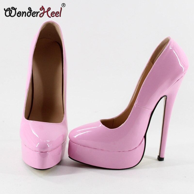 e6c5882d2df ... Wonderheel NEW Extreme high heel 18cm spike heel black patent women  pump Sexy fetish High Heel