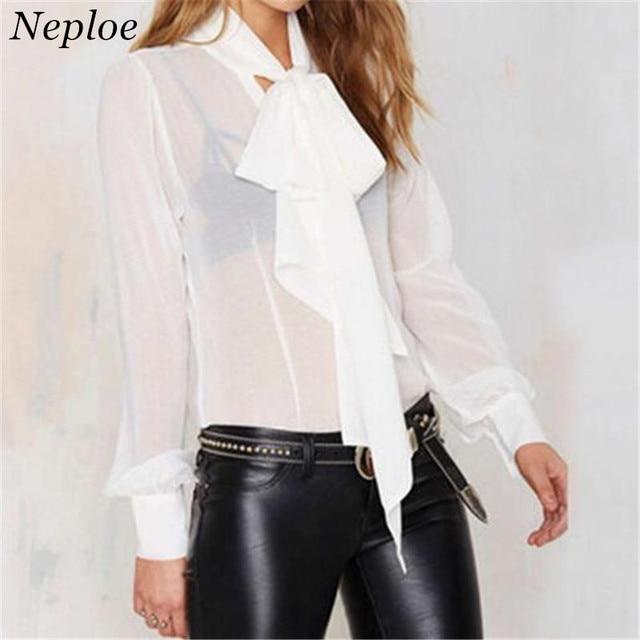 be2464f4f864a Perspectiva mujeres arco camisa cuello chal de moda Blusas mujer negro blanco  Camisas manga larga gasa