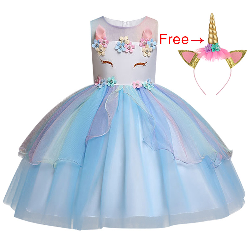 HTB1iM8YJIfpK1RjSZFOq6y6nFXaR New Unicorn Dress for Girls Embroidery Ball Gown Baby Girl Princess Birthday Dresses for Party Costumes Children Clothing