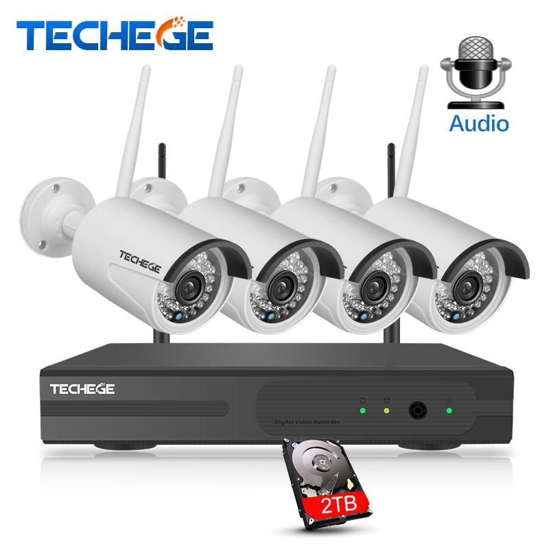 Techege 4CH Surveillance 1080 p NVR 1080 p WIFI IP Caméra 2.0MP Audio sans fil kit WiFi Caméra CCTV Système P2P CCTV système de caméra