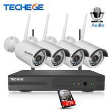 Techege 4CH Surveillance 1080P NVR 1080P WIFI IP Camera 2.0MP Audio wireless kit WiFi Camera CCTV System P2P CCTV camera system