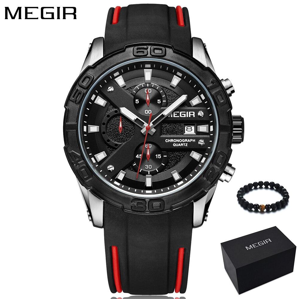 цена на New MEGIR quartz men watch luxury brand black sport wristwatch mens watches army military chronograph student clock for man 2018