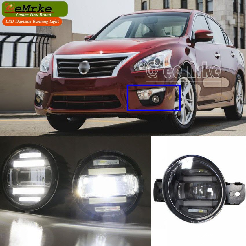 eeMrke Xenon White High Power 2in1 LED DRL Projector Fog Lamp With Lens For Nissan Altima Sedan Coupe 2007-2015 eemrke xenon white high power 2 in 1 led drl projector fog lamp with lens daytime running lights for renault kangoo 2 2008 2015