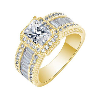 Women's Luxury Large Engagement Ring Jewelry Rings Women Jewelry Ring Size: 10 Main Stone Color: Yellow