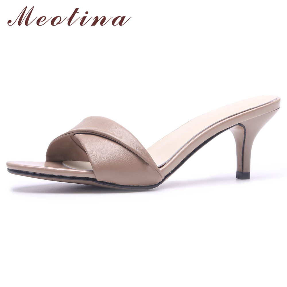 Meotina Summer Slippers Women Shoes Natural Genuine Leather Thin High Heels Shoes Cow Leather Open Toe