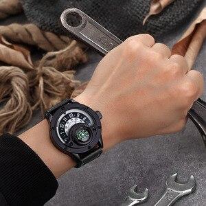 Image 4 - Creative מצפן גברים שעון קוורץ שעונים ספורט פטיפון חיוג שעוני יד מקרית רצועת עור צבאי שחור איש שעון Reloj