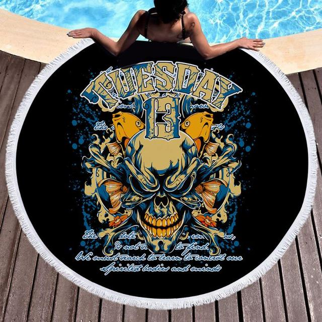 TUESDAY 13 SKULL ROUND BEACH TOWEL